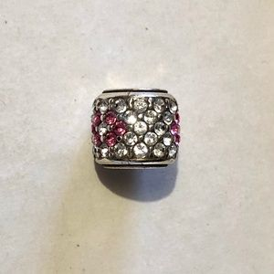 🆕! Brighton bead with clear & pink crystals